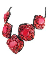 Aeravida - Black Chic One Of A Kind Mosaic Coral Embellished Necklace - Lyst