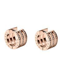 Michael Kors - Pink Pave Huggie Earrings - Lyst