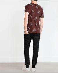 Zara | Purple Micro-pattern T-shirt for Men | Lyst