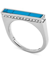 Michael Kors | Blue Silver-Tone Turquoise Inlay Bar Ring | Lyst