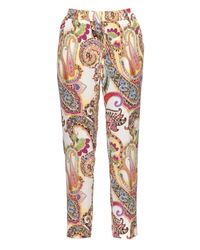 Etro | Multicolor Paisley-print Silk Trousers | Lyst