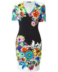 Roberto Cavalli | Green Floral Dress | Lyst