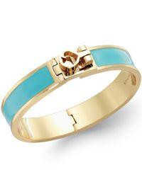 kate spade new york - Gold-Tone Blue Enamel Turnlock Bangle Bracelet - Lyst