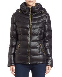 Calvin Klein | Black Hooded Packable Puffer Coat | Lyst