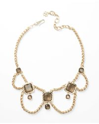 Ann Taylor | Metallic Smoky Stone Box Chain Statement Necklace | Lyst