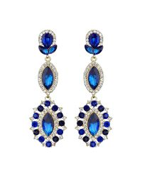 Mikey | Blue Triple Eclipse Stone Long Drop Earring | Lyst