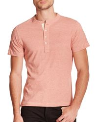 Billy Reid - Orange Pensacola Short-sleeve Henley for Men - Lyst