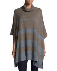 Neiman Marcus | Brown Cowl-neck Striped Cashmere Poncho | Lyst