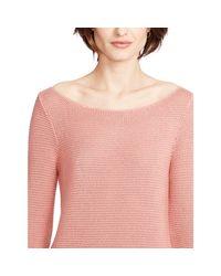 Ralph Lauren | Pink Knit Crop-sleeved Sweater | Lyst