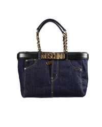 Moschino | Black Handbag Bag Shopping Jeans Denim With Belt | Lyst