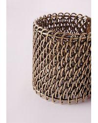 Missguided - Metallic Chain Bracelet Cuff Gold - Lyst