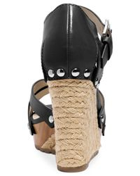Michael Kors - Black Michael Somerly Platform Wedge Sandals - Lyst