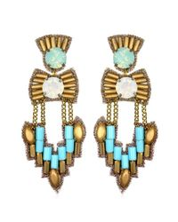 Suzanna Dai | Blue Ankara Chandelier Earrings, Turquoise/gold | Lyst