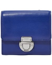 Fossil | Blue Riley Leather Small Flap Wallet | Lyst
