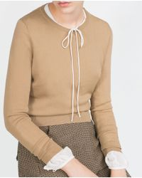 Zara | Natural Cropped Sweater | Lyst