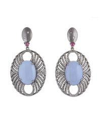 Bavna - Blue Sterling Silver Earrings W Chalcedony, Ruby & Pave Diamonds Silver 12.63 Gm, Chl 21.42 Ct, Rub 0.37 Ct, Pave 2.84 Ct - Lyst