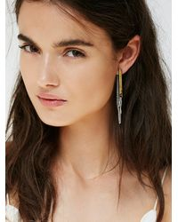 Free People - Gray Womens Bar Chain Earring - Lyst