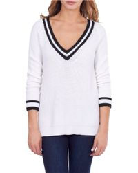 William Rast | White Striped Tennis Sweater | Lyst