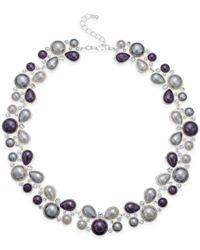 Charter Club | Metallic Silver-tone Two Layer Imitation Pearl Necklace, Only At Macy's | Lyst