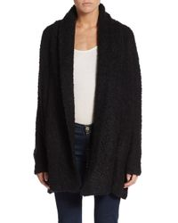 Joie | Black Solome Plush Shawl-collar Cardigan | Lyst