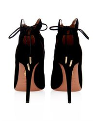 Aquazzura | Black Walk This Way Suede Ankle Boots | Lyst