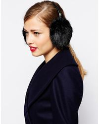 Ted Baker - Black Faux Fur Ear Muffs - Lyst