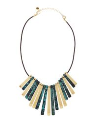 Lydell NYC - Green Patina & Metal Bib Necklace - Lyst
