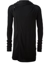Rick Owens - Black Hooded Long Cardigan for Men - Lyst