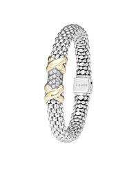Lagos | Metallic Silver & 18k Gold Diamond Lux Small Bracelet | Lyst