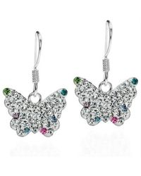 Aeravida | Metallic Cute White Butterfly Cz Flutter .925 Silver Dangle Earrings | Lyst