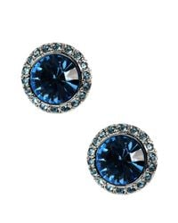 Givenchy | Blue Aqua Crystal Button Stud Earrings | Lyst