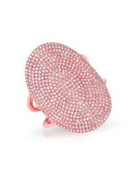 Anne Sisteron - Pink 14kt Rose Gold Diamond Oval Armor Ring - Lyst