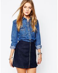 Glamorous | Blue Denim Western Shirt With Embroidered Back Yoke Detail | Lyst