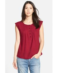 Ace Delivery - Red Print Henley Top - Lyst