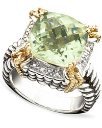 Macy's - 14k Gold And Sterling Silver Ring, Green Quartz (6-1/3 Ct. T.w.) And Diamond Accent - Lyst