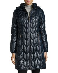 Via Spiga | Blue Hooded Quilted Packable Coat | Lyst