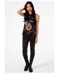 Missguided | Multicolor Chica Floral Flock Leggings | Lyst