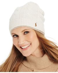 Polo Ralph Lauren | Natural Two-tone Cable Slouch Hat | Lyst