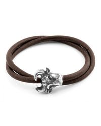 Tateossian | Bull Head Bracelet In Brown Leather And Silver for Men | Lyst