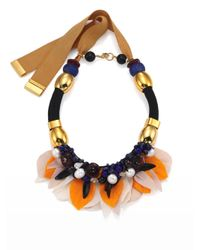 Lizzie Fortunato | Metallic Floral Frida Pearl & Rope Statement Bib Necklace | Lyst