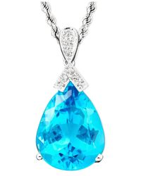 Macy's | 14K White Gold Blue Topaz (18-3/8 Ct. T.W.) & Diamond Accent Pear Pendant | Lyst