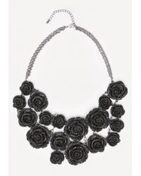 Bebe - Black Pave Rosette Necklace - Lyst