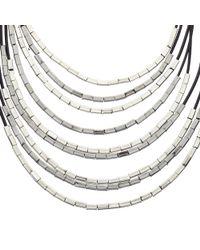John Lewis - Black Cord Metallic Tube Necklace - Lyst