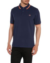 Fred Perry - Blue Twin Tipped Slim Fit Polo for Men - Lyst
