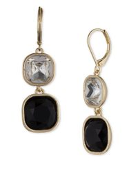 Anne Klein | Black Jet Double Drop Earrings | Lyst