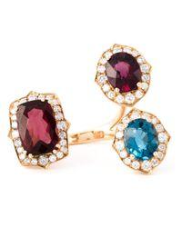 Monan | Metallic Three Stone Ring | Lyst