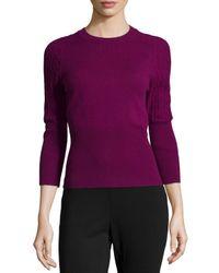 Carolina Herrera - Purple Three-quarter-sleeve Cashmere Sweater - Lyst