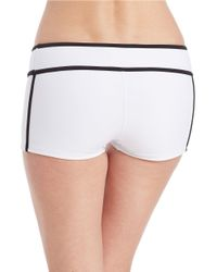 MICHAEL Michael Kors White Colorblocked Scuba Boy Short Bikini Bottom