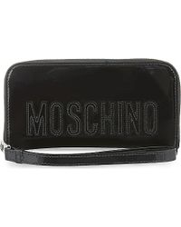 Moschino | Black Logo Patent Leather Wallet | Lyst