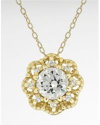 Lord & Taylor | Metallic Cubic Zirconia Round Pavé Pendant Flower Necklace | Lyst